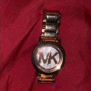 MK Logo Rose Gold Tone Watch